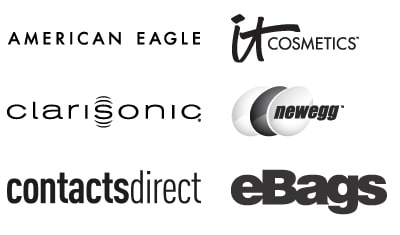Logotipos para American Eagle, It Cosmetics, Clarisonic, NeWegg, Contacts Direct y Ebags