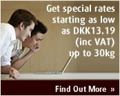 Get special rates starting as low as DKK13.19 (inc. VAT) up to 30kg.